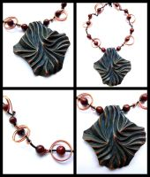 MAHOGANY PENDANT with copper wires and beads by MassoGeppetto