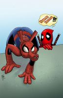 Spider-Ham vs Deadpool by DarthTerry