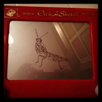 etch a sketch praying mantis by beanbagbanger