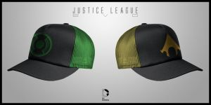 Green Lantern/Aquaman EVO Hats by seventhirtytwo