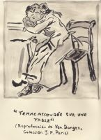 Femme accoudee sur une table by roundtower