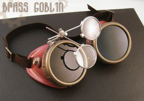 Red Steampunk Goggles by brassgoblin