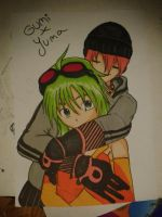 VY2 Yuma and GUMI hug from behind colo by narusegawaxx