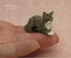 Realistic sleeping Tabby Cat sculpture by Pajutee
