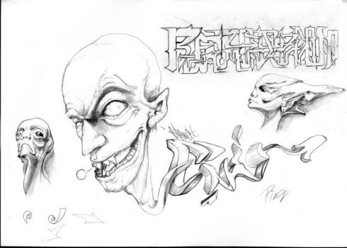aliens faces sketches collects by UcTPingy
