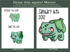 Bulbasaur ::Before and After:: by scr3aam3r