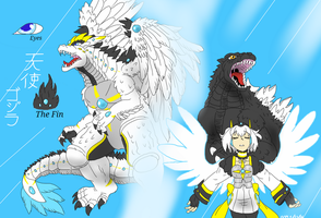 Kaiju and Guardian Fusion: Tenshi Gojira by FallenAngel5414