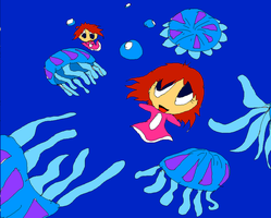 Ponyo in Jellyfish by HezuNeutral
