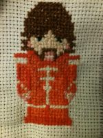 Cross stitched pixel sgt. Peppers George Harrison by PaulAndTheBeatles