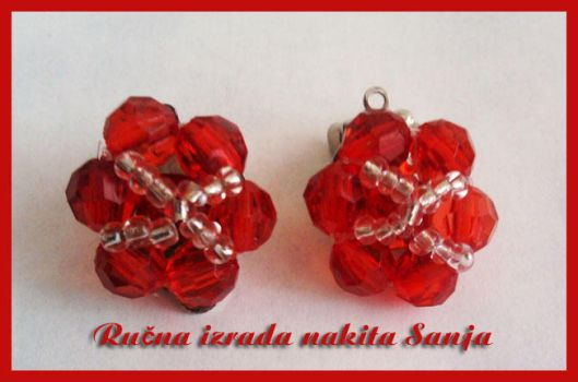 Red earrings by Sanjabeads