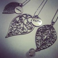 Leaf Charm Necklaces by hiddenhearts3