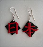 kanji earrings by Kitsune-shy