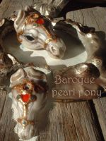 Baroque Pearl horse netsuke by Sleetwealth