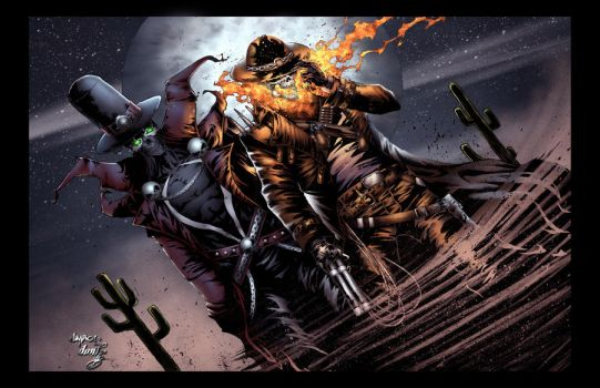 Ghost Rider and Spawn Colored by DontBornInInk