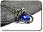 Cobalt teardrop silver necklace with Quartz by nurrgula
