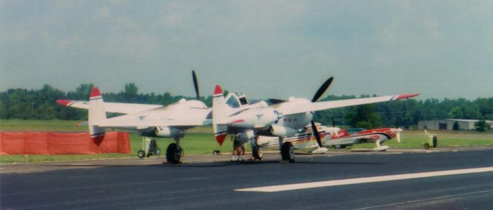2001 AEDC Air Show - P-38 Lightning by squirrelismyfriend