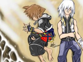 Sora and Riku on the Beach by anime-arteest