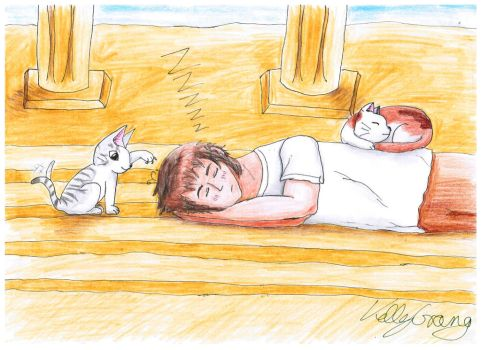 Sleeping APH Greece with Chi by KellyGreeny