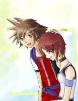 Sora and Kairi-Kingdom Hearts by antoZ