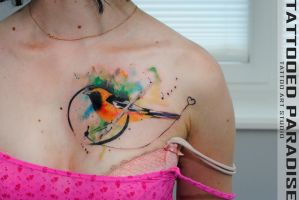 watercolortattoo bird by dopeindulgence