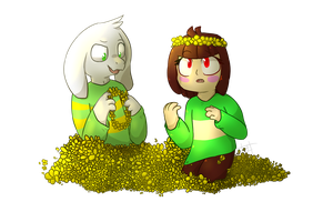 Asriel and Chara by Dracomewgem