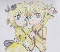 """Servant of Evil: Kagamine Rin and Len by FlyingCatsandGlitter"