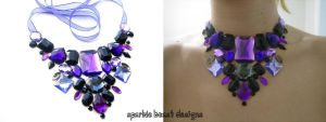Purple and Black Rhinestone Bib Necklace by Natalie526