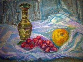 vase, grapes and orange by shlomigor