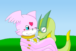 Lovemon and Lampagomon hugging each other by HeroHeart001