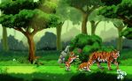Tigers in the Forest by andigr