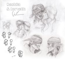 Saskia and Iorveth sketches by ICiumkaI