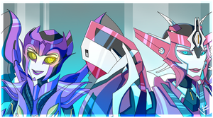 Elita 1 and Predacon Solar by VexyFate
