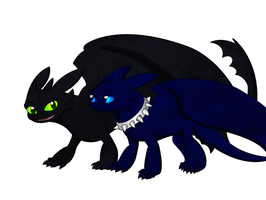 Nightshade and The Dragons of Berk: Toothless by PandaFilmsG