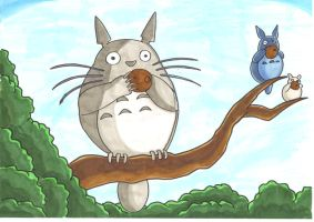 Totoro chillin on a tree by kenny-powders