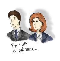Mulder And Scully doodle by Denigirl