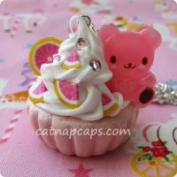 Pink Bear with Grapefruit by CatNapCaps