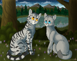 -+Star Gazing+-  Bumblestripe and Dovewing by Lyss504813