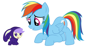 Bunny Cream Puff and Rainbow Dash by 3D4D