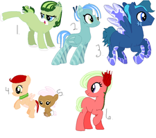 6 Pony Adoptables by DoodleBug-Adoptable