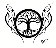 Another Wolf and Tree of Life design by CalamityMoon