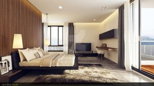 Minimalism Wood Bedroom 2 by vermillion3D