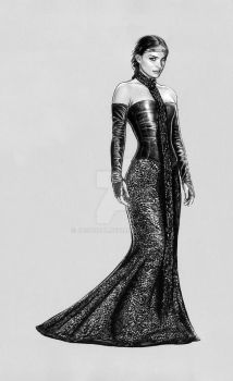 padme -Black Leather Gown by jasonpal