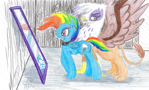 Rainbow Dash and Gilda by VegemiteGuzzler