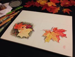More fall leaves :) by ArtbyGloriaColom