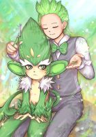 Cilan and Simisage (colored) by lilacerise