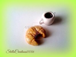 breakfast-coffee and croissant charms by gothicstella