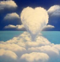 Spray paint heart clouds on canvas XL size by Airgone