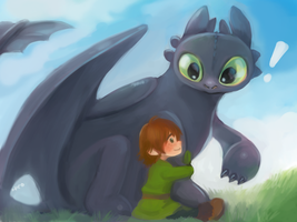 Toothless and baby hiccup by hiraco