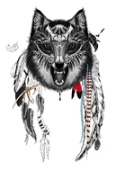 Tribal wolf by Cllaud