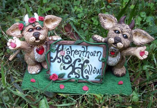 Nuzzels with Ashenthorn Hollow Sign by NalinaRoseStudio